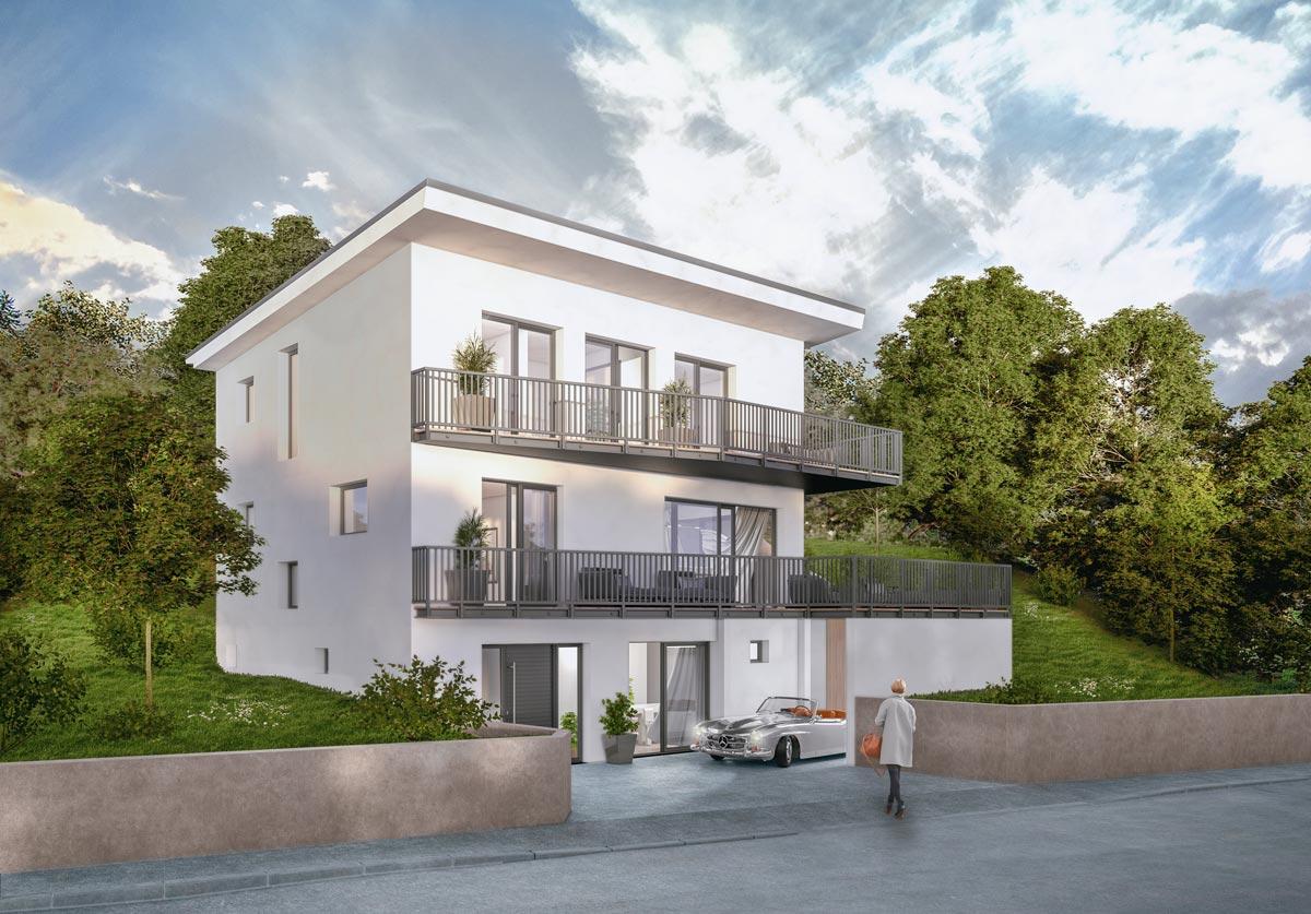 Künstlerische 3D Visualisierung großzügiges Einfamilienhaus