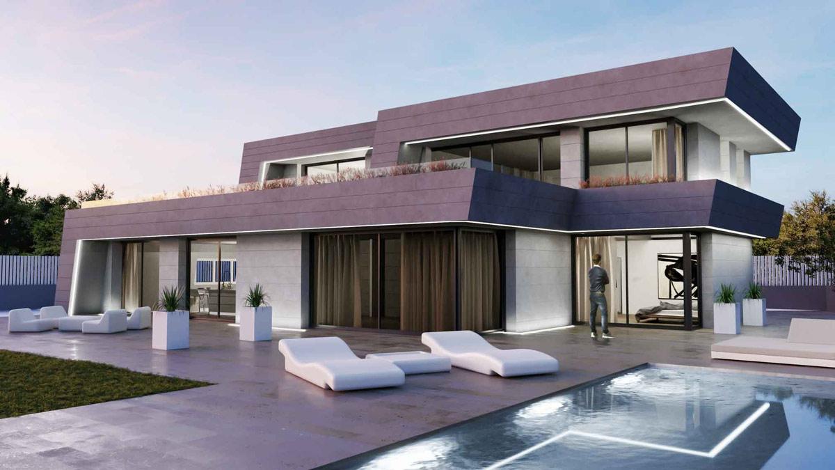 Normaler Blick auf eine visualisierte Villa mit Pool