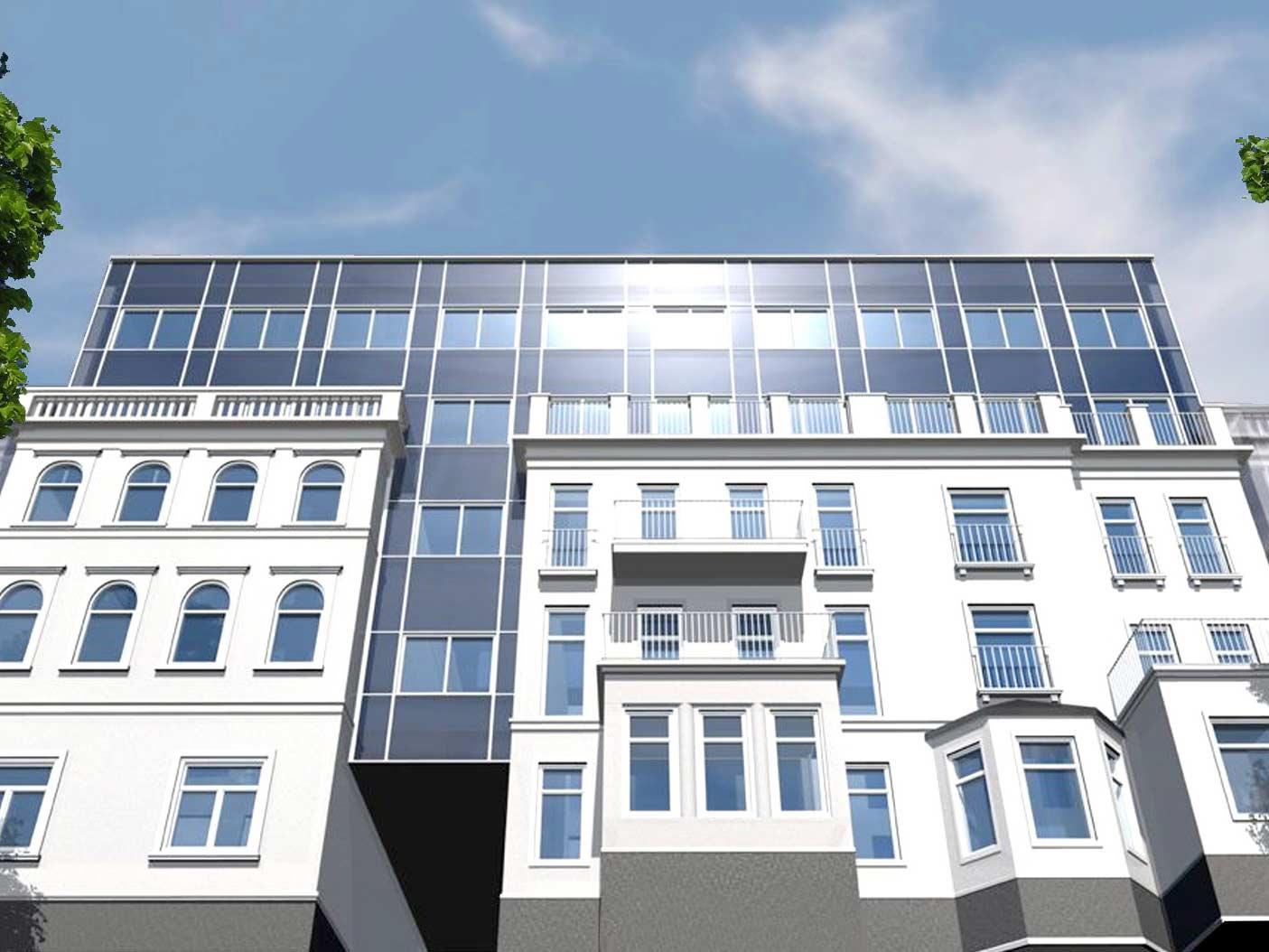 Blick von unten auf ein Mehrfamilienhaus 3D Visualisierung