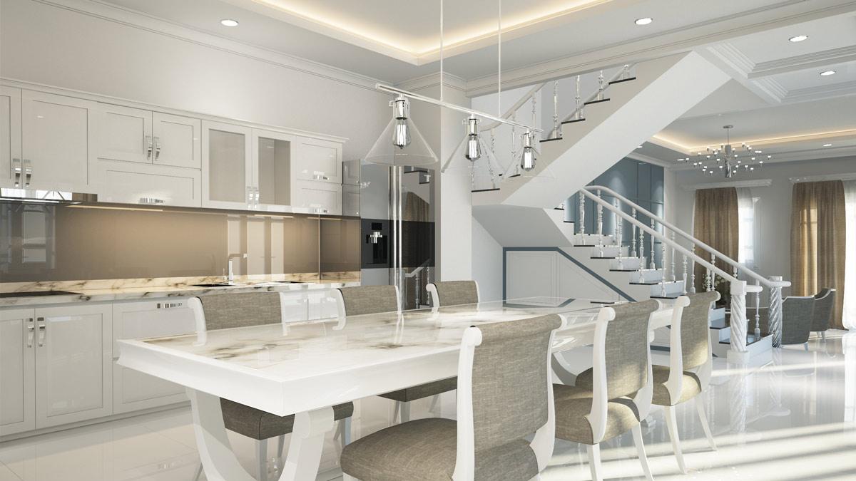 3D Innen Visualisierung Wohnen, Essen, Kochen mit Treppe