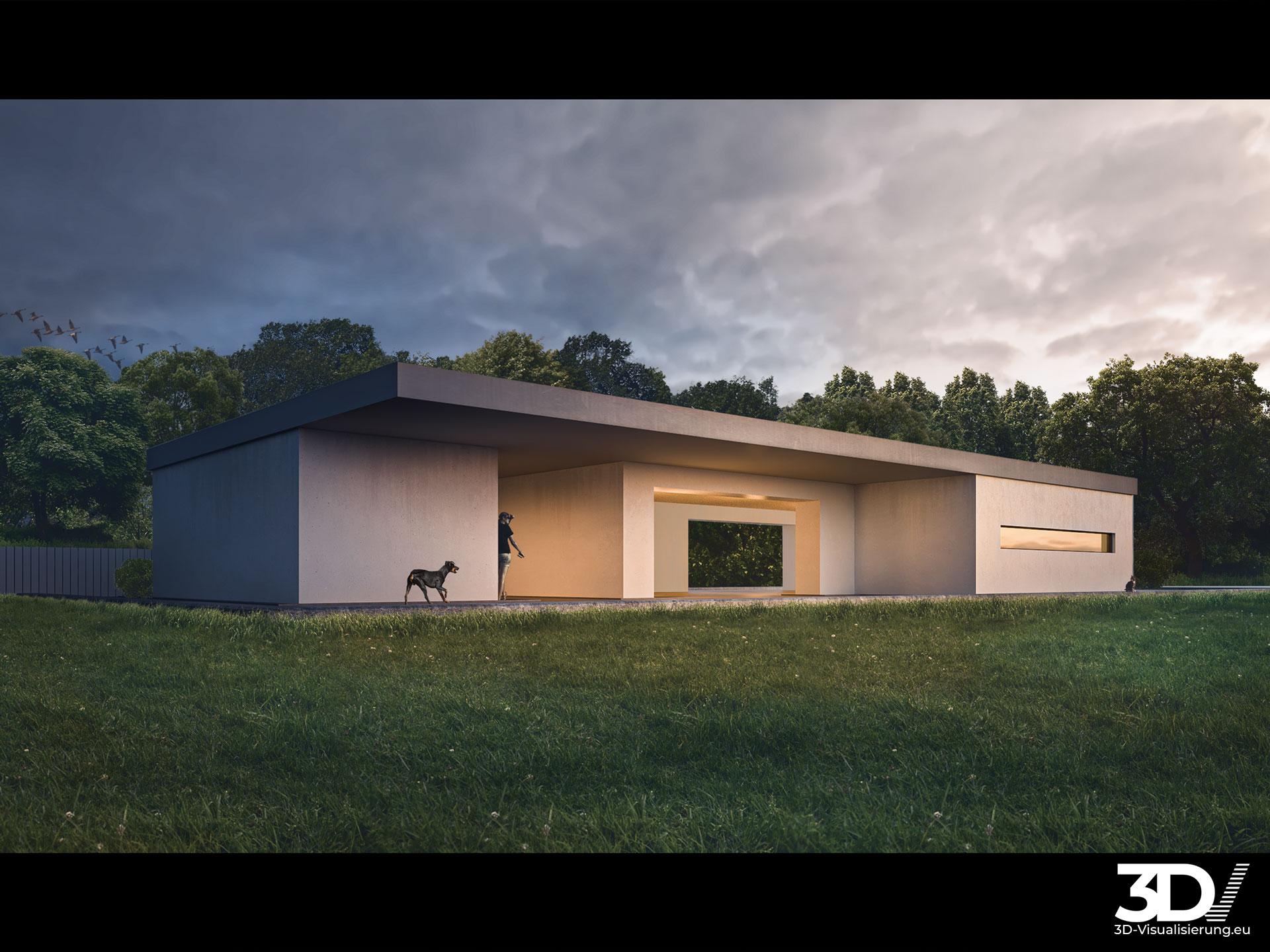 3D Architektur Visualisierung — Bauhausvilla nahe Stuttgart
